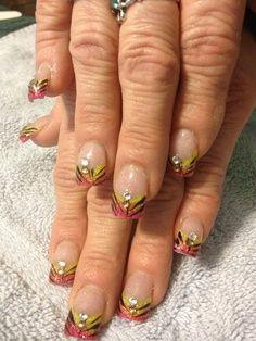 Colored acrylic nail design