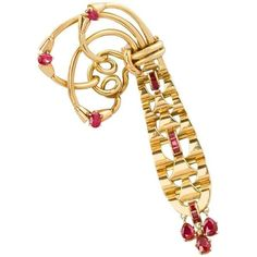 Preowned French Retro Gold And Ruby Brooch By Mellerio ($7,500) ❤ liked on Polyvore featuring jewelry, brooches, multiple, 18 karat gold jewelry, 18k jewelry, ruby jewelry, 18k gold jewelry and graduation jewelry