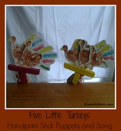 {Five Little Turkeys} Stick Puppets and Rhyme from JDaniel4's Mom