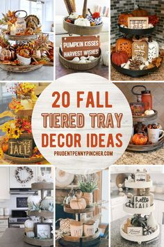Get some inspiration for decorating your Fall tiered tray. From farmhouse fall tiered tray decor ideas to rustic fall tiered trays, there are plenty of fall decorations for your tiered tray to choose from Tray Decor, Tiered Stand, Fall Home Decor, Summer Mantle Decor, Rustic Fall Decor, Autumn Home, Autumn Fall, Thanksgiving Decorations, Thanksgiving Ideas