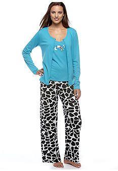 0a18d1b523 Kim Rogers® Cow 3 Piece Knit Pajama Set  belk