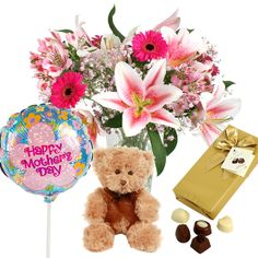 #Mothers #Day #gift #sets - including stunning #flowers, #chocolate, #happymothersday #balloon and cuddly teddy! Only £29.99