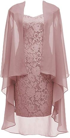 Dusty Pink Short Lace Mother of the Bride Dress with Jacket Formal Gowns at Amaz. - Bridal Gowns Dusty Pink Short Lace Mother of the Bride Dress with Jacket Formal Gowns at Amaz. Formal Evening Dresses, Formal Gowns, Prom Gowns, Formal Prom, Bridal Gowns, Dress Prom, Formal Wear, Dress Formal, Mother Of Groom Dresses