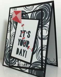 Double-Time stamping with the Swirly Bird stamp set - Kathleen's Stamping Place Birthday Cards, Happy Birthday, Cake Birthday, Simple Card Designs, Diy Cards, Men's Cards, Party Pops, Masculine Cards, Stampin Up Cards