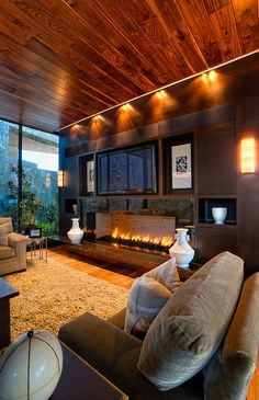 interior of a modern house with wooden elements Best Electric Fireplace, Wall Mount Electric Fireplace, Great Rooms, My Dream Home, Dream Homes, Modern Decor, Interior Architecture, Family Room, New Homes