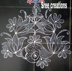 Easy Rangoli Patterns, Rangoli Borders, Rangoli Border Designs, Lotus Rangoli, Kolam Rangoli, Kerala Saree Blouse Designs, Simple Rangoli, Doodles, Drawings