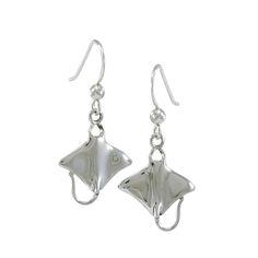 Manta Ray Sterling Silver Hook Earring TE963