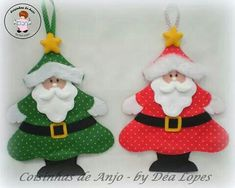 Santa Claus - Enfeite Noel Sewn Christmas Ornaments, Christmas Sewing, Felt Christmas, Felt Ornaments, Christmas Projects, Christmas Themes, Christmas Tree Decorations, Holiday Crafts, Felt Crafts Patterns