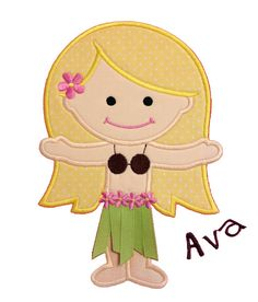 Hula Girl Applique Design by AppliqueChick on Etsy, $6.50