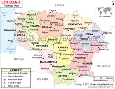 map of lithuania with cities - Google Search