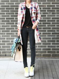 Multicolored Plaid Longline Lapel Coat | Persunmall