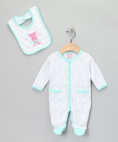 Another great find on #zulily! Turquoise 'Lil Owl' Footie & Bib - Infant by Sweet & Soft #zulilyfinds