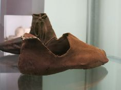 Shoe, 15th century, found in Passau, Germany. It is the only shoe made of sheepskin found during the excavation at the castle Oberhaus in Passau. It shows obvious signs of wear; the big hole in the toe area and some other tears were patched during restoration.