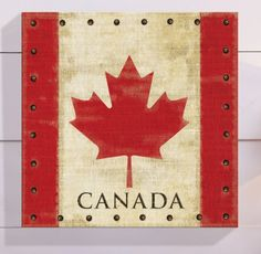 Show your love for Canada with this vintage-look flag art. The printed canvas has a weathered appearance and nail detail. Modern Wall Decals, Canadian Things, Happy Canada Day, Flag Decor, Barn Quilts, Wedding Gift Registry, Diy Art, Bedding Shop, Poster Prints