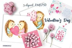 Valentine's Day watercolor clipart by Ponomarchuk Art on @creativemarket