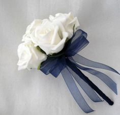 WEDDING FLOWERS - BRIDESMAIDS FLOWERGIRLS POSY BOUQUET IVORY AND NAVY BLUE