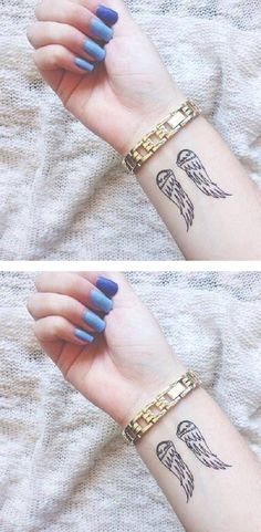 Meaningful small wrist tattoo ideas for girls for women - minimal angel wing arm tatouage - Tattoos For Women Small Meaningful, Best Tattoos For Women, Small Tattoos With Meaning, Small Wrist Tattoos, Tattoos For Guys, Future Tattoos, Modern Tattoos, Trendy Tattoos, Unique Tattoos