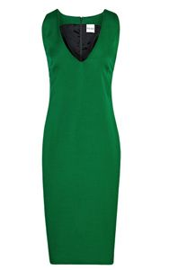 Reiss deep v-neck dress. Aderyn in emerald green is a modern, panelled dress. This sleeveless style has a deep v-neck and falls to the knee with a stylish notched hem. With side seam panel detail, this contemporary take on the classic shift secures to the back with a concealed zip.