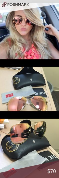 Ray Ban aviator sandals Authentic brand new aviator sunglasses. RN 3025. 58- 2N. Beautiful punk color with gold armor. Ray-Ban Accessories Sunglasses