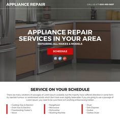 appliance repair service responsive funnel landing page at a very reasonable and affordable price from buy landing page design White Kitchen Appliances, Vintage Appliances, Home Appliances, Copper Appliances, Bosch Appliances, Local Furniture Stores, Appliance Repair, Landing, Design