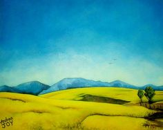 'Fields of Yellow' - Acrylic on Canvas x Fields, Paintings, Canvas, Yellow, Art, Tela, Craft Art, Painting Art, Kunst