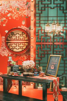 "Red Chinese ""double happiness"" wedding backdrop and Old Shanghai-inspired decor // Old Shanghai Glamour: Howard and Yi-Ann's Wedding at Grand Hyatt Kuala Lumpur cny chinese new year refer. Chinese Wedding Decor, Oriental Wedding, Chinese Theme, Chinese New Year Decorations, Home Wedding Decorations, Backdrop Decorations, New Years Decorations, Backdrops, Backdrop Ideas"