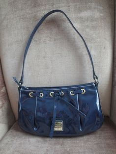 DOONEY BOURKE Handbag $185 Patent Leather Tassle Zip Top Blue XMINT ph49  #DooneyBourke #Hobo