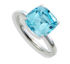 Twinkle Twinkle by Jane Taylor - Cushion Sky Blue Topaz Ring in White Gold