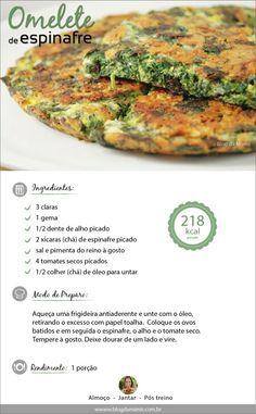 Omelete d aveia e espinafre Veggie Recipes, Vegetarian Recipes, Healthy Recipes, I Love Food, Good Food, Lean And Green Meals, Menu Dieta, Light Recipes, Food Hacks
