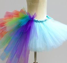 ADULT RAINBOW TUTU Skirt with bustle tail Dash by wingsnthings13