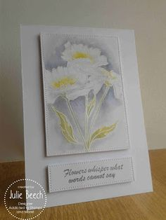 handmade card from Crafted by Jules ... gorgeous watercolor look .... flowers embossed in whie with yellow centerrs ... luv the moody grays in the background shadowing ...fab look!!