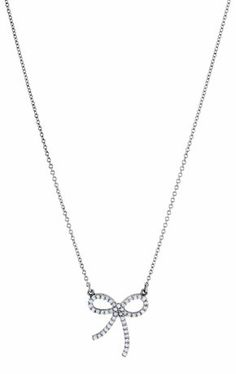 Bow necklace in platinum with 0.25 ct. t.w. diamonds; $1,670; Stuller, Lafayette, La.; 800-877-7777; stuller.com