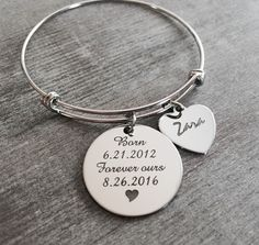 Forever Ours, Name, Adoption Bracelet, Adoption Jewelry, Custom, Stainless Steel, Personalized, Charm Bracelet, Keepsake, Gifts, by SAjolie, $29.95 USD