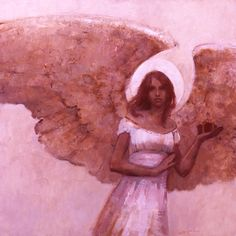 Angel with a Gift. Open your Sacred Heart she whispers and fall in love with all of life (art: J.Kirk Richards)
