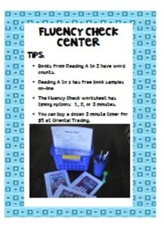 Reading fluency is such an important part of reading. Yet it's hard to find time in a busy schedule to devote to fluency activities. This is a center that two students can work together to improve their fluency skills. (Use with Reading A-Z leveled readers.)
