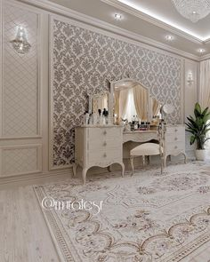 Image may contain: table and indoor Elegant Bedroom Design, Luxury Bedroom Design, Luxury Homes Interior, Home Interior Design, Home Decor Bedroom, Living Room Decor, Dressing Design, Decoration Entree, Ideas Hogar