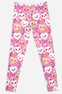 'pattern Funny Kawaii heart pink, lilac, orange, green, on pink fuchsia background. Valentine's Day' Leggings by EkaterinaP Gothic Leggings, Lilac, Pink, Artwork Prints, Valentines Day, Room Decor, Kawaii, Trends, Orange