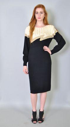 Vintage Sweater Dress 80s Abstract Utlra Soft Black Cozy Sweater Long Sleeve Sweater Dress M L