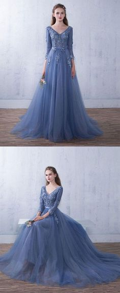 Blue tulle v neck lace long prom dress,