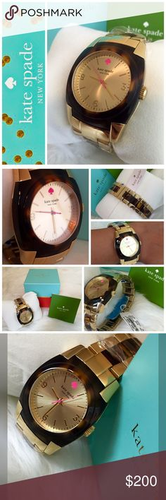 ❤️HUMP DAY SALE❤️Kate Spade Skyline Watch Kate Spade Signature Water Resistant Skyline Watch in Beautiful Tortoise and Gold Tone Trim, Gold Face with Gold Numbers, Hour and Minute Hands, Pink Second Hand as well as Pink Kate Spade Symbol for 12 o'clock position, Manufacturer Protective Plastic installed, Also comes with Kate Spade Green Instructional Booklet, NWT.                                         ❌NO TRADES❌ ‼️Price Firm‼️ Kate Spade Accessories Watches