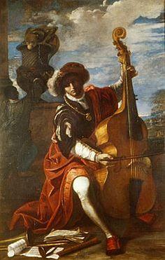 Pier Francesco Mola (* 9.2.1612 Coldrerio, † 13.5.1666 Roma), Suonatore di viola da gamba, Repubblica e Cantone Ticino, Bellinzona ; 225 x 142 cm