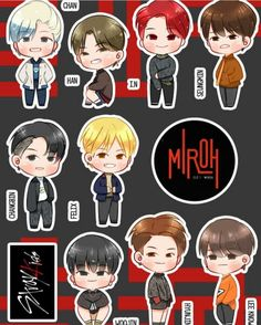 Details and comments of photo Pop Stickers, Tumblr Stickers, Kids Stickers, Printable Stickers, Chibi, Illustrator, Kpop Drawings, Felix Stray Kids, Journal Stickers