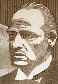 Illustrations par Giles Oldershaw : Portraits de Stars sur Carton Ondulé