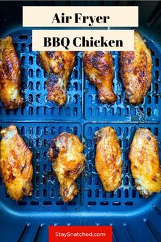 This Easy Air Fryer BBQ Chicken is made using wings, your favorite barbecue rub, and drizzled in BBQ sauce for the perfect grilled taste. You can make these using fresh or frozen chicken. Air Fry Recipes, Keto Recipes, Dinner Recipes, Healthy Recipes, Bbq Chicken, Tandoori Chicken, Frozen Chicken Wings, Perfect Grill, Air Fryer Healthy