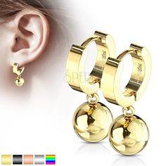 Kĺbové náušnice z chirurgickej ocele 316L - krúžok s visiacou guľôčkou | Šperky Eshop Drop Earrings, Bracelets, Gold, Jewelry, Jewlery, Jewerly, Schmuck, Drop Earring, Jewels