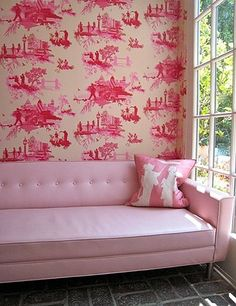 Raspberry coloured Toile in a bedroom looks great, not sure it works as well in a lounge room......