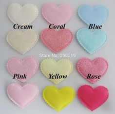 PA0065 Beautiful Padded Patches Heart shape 38mm*45mm Assorted Colors 120pcs stick on Felt for headwear accessories #Affiliate