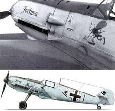 "Messerschmitt Bf 109 E-4 под названием ""Фортуна""Kommandeur из III. / JG 3, Уолтер Киниц  Франция 1940"