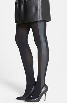 586203922 kensie Faux Leather Tuxedo Stripe Tights