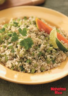 Green Chile Brown Rice: a delicious side dish and a great Cinco de Mayo recipe made with jalapeño peppers, lime juice, fresh cilantro and Mahatma Whole Grain Brown Rice.